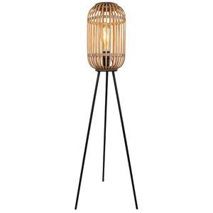 Freelight Stojací lampa Malacca s dřevěným stínidlem