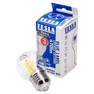 Tesla - LED žárovka FILAMENT RETRO miniglobe, E27, 4W, 230V, 470lm, 25 000h, 4000K denní bílá, 360st.,