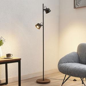 Lindby Lindby Rubinjo stojací lampa dřevěná noha 2 zdroje