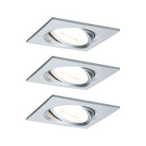 PAULMANN Vestavné svítidlo LED Nova hranaté 3x6,5W GU10 hliník broušený výklopné 3-krokové-stmívatelné 934.74 P 93474 93474